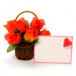 Valentine Rose Basket and Card — Stock Photo #4664818