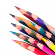 Colored pencils, isolated, on a white background — Stock Photo