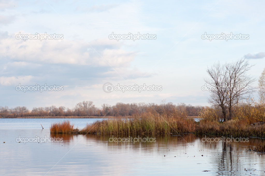 Beautiful autumn landscape with peaceful backwater — Stock Photo #4506966