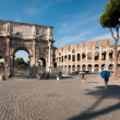Stock Photo: Arch of Constantine and Colosseum