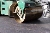 Heavy Steamroller at asphalt pavement works — Stock Photo