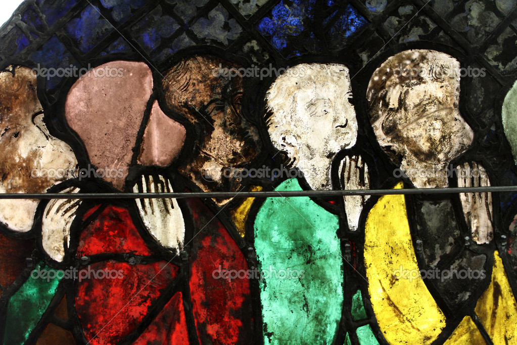 Very old stained glass window - Dating from the late 12th to 14th Century. Strasbourg. France — Stock Photo #4491469