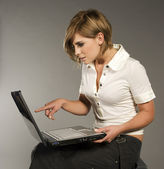 Blondie with laptop — Stock Photo