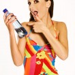 Girl with mineral water — Stock Photo