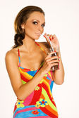 Girl with a drink — Stock Photo