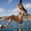 Pretty young woman posing on the yacht — Stock Photo #4806959