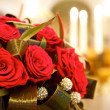 Big fresh bunch of red roses - Stockfoto