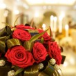 Big fresh bunch of red roses - Foto Stock