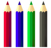Four pencils on white background — Stock Photo