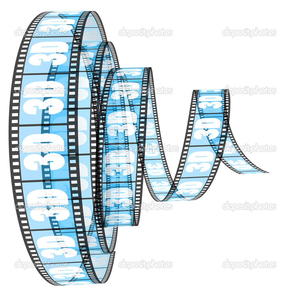3d film rolled forward stock image
