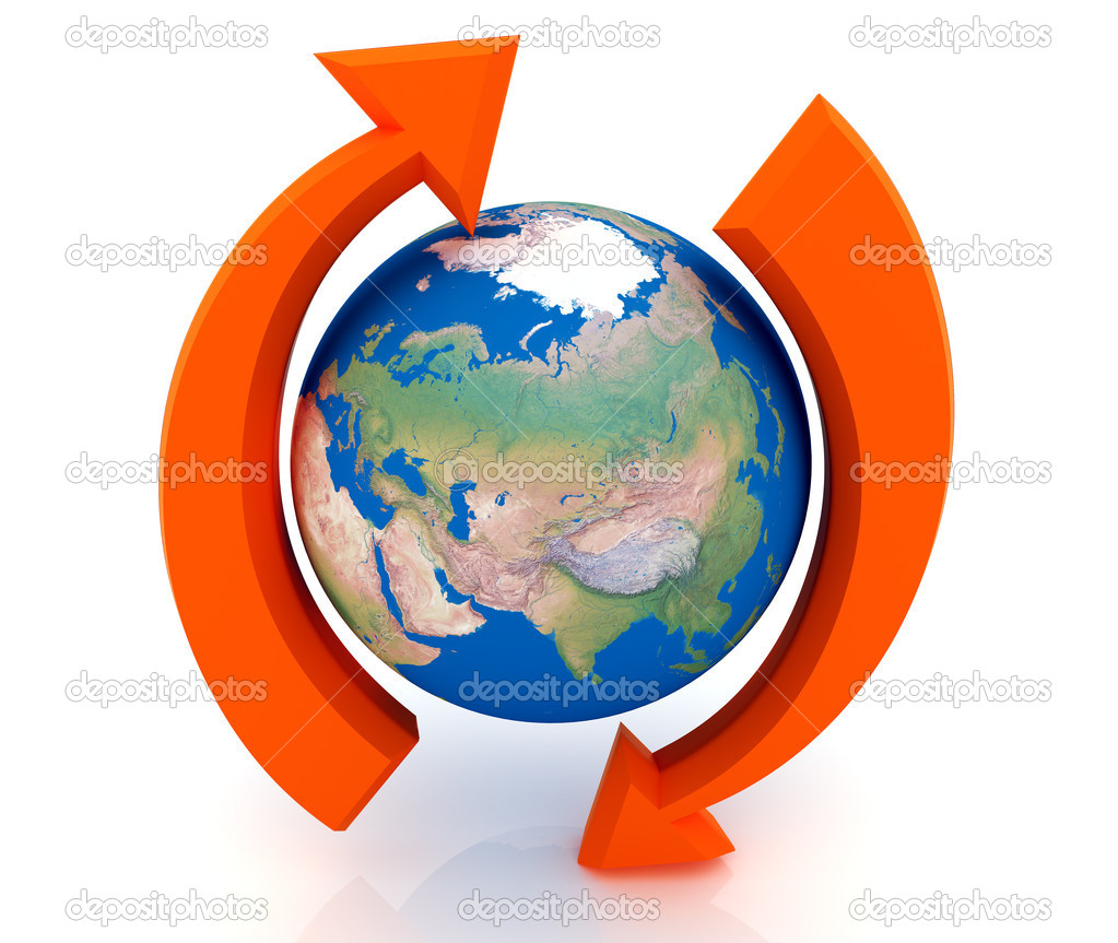 Two arrows surrounding Earth globe - 3d render — Stock Photo #4848316