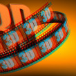 3D Film with word 3D — Stock Photo
