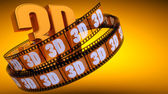 Film with word 3D — Stock Photo