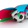 Two soccer balls hold Azerbaijan flag - Stock Photo