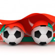 Two soccer balls hold Belarus flag - Stock Photo