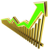 Golden Business Graph with arrow up — Stock Photo