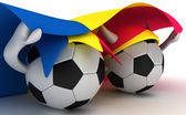 Two soccer balls hold Andorra flag — Stock Photo