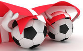 Two soccer balls hold Denmark flag — Stock Photo