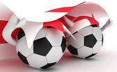 Two soccer balls hold England flag — Stock Photo