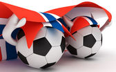 Two soccer balls hold Norway flag — Stock Photo