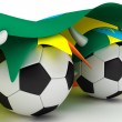 Stock Photo: Two soccer balls hold Ethiopiflag