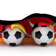 Two soccer balls hold Germany flag — Stock Photo