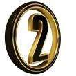 Stock Photo: Gold Black Font Letter two