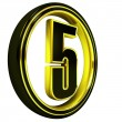 Stock Photo: Gold Black Font Letter five
