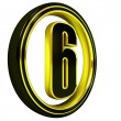 Stock Photo: Gold Black Font Letter six