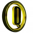 Gold Black Font Letter q — Stock Photo
