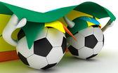 Two soccer balls hold Ethiopia flag — Stock Photo