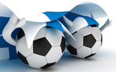 Two soccer balls hold Finland flag — Stock Photo
