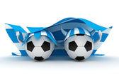 2 つのサッカー ボールを保持するギリシャの国旗 — ストック写真