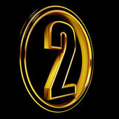 Gold Black Font Letter two — Stock Photo