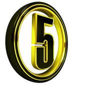 Gold Black Font Letter five — Stock Photo