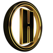 Gold Black Font Letter h — Stock Photo
