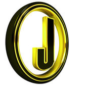 Gold Black Font Letter j — Stock Photo