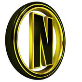 Gold Black Font Letter n — Stock Photo