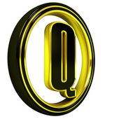 Gold Black Font Letter q — Stock Photo