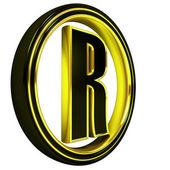 Gold Black Font Letter r — Stock Photo