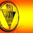 Gold metal twenty Percent sell - Stock Photo
