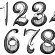 Stockfoto: Filmstrip font. Numbers pack
