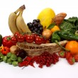 Fruits and vegetables in a basket — Stock Photo