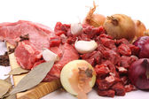 Beef and ingredients to make Hachee — Stock Photo