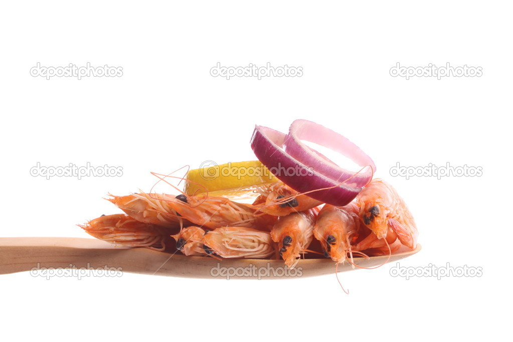 Boiled shrimps  on a dish against a white background — Stock Photo #5046799