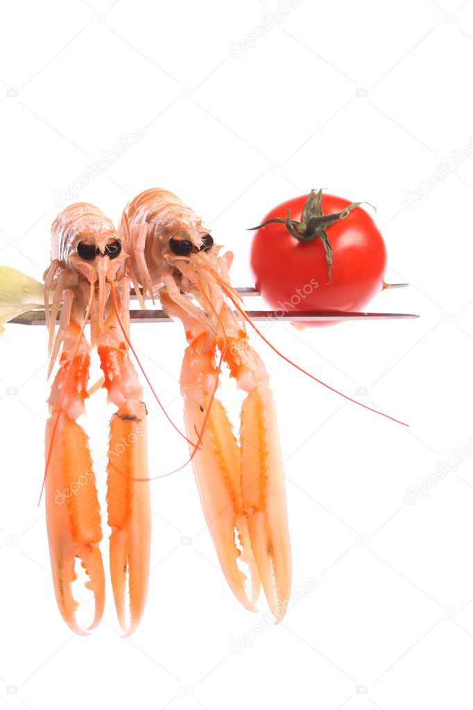 Cooked scampi on a fork against a white background — Stock Photo #5096724