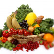 Stock Photo: Fruits and vegetables in a basket