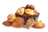 Various bread rolls in a basket — Stock Photo