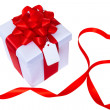 Royalty-Free Stock Photo: Gift box with message tag and heart