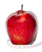 Apple with centimeter — Stock Photo